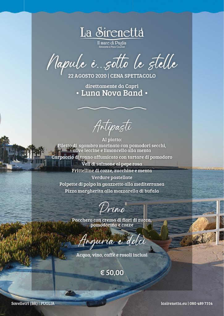 Napule è...sotto le stelle - La Sirenetta Ristorante - menu